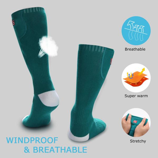 Gros-1 paire chauffée thermique chaussettes en coton Pied Warmers électrique Réchauffement de la chasse Sox de pêche sur glace Boot Warming Chaussettes en plein air
