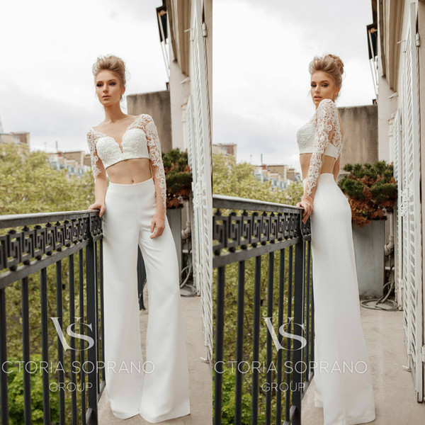 Victoria Soprano Wedding Dresses Bridal Suits Jackets Pants Lace Applique Beads Long Sleeve Hollow Sexy Plus Size Robe De Mariée