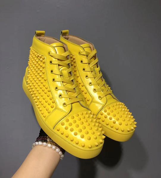 Nuevo diseñador inferiores del rojo de los zapatos ocasionales Resbalón-en Barco de rodillos para hombre ante de las mujeres de piel de cristal de Spike zapatillas de deporte CAJA