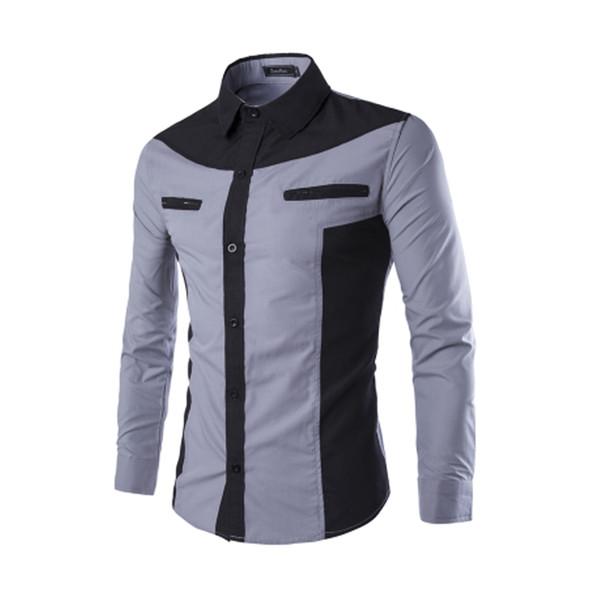 New Fashion fresco Mens Luxo Casual Elegante Slim Fit shirt belos rapazes Casual Cor Patchwork vestido camisa manga comprida
