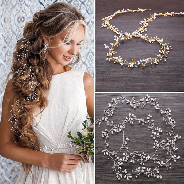 Haar Rebe Braut Kopfbedeckungen Kristall Perle Damen Phantasie Stirnband lange Kette Party Kopfschmuck