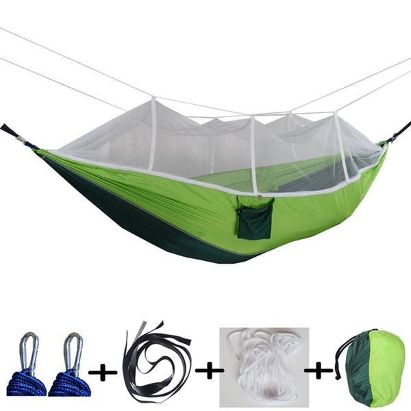 12 colori 260 * 140 cm amaca con zanzariera esterna paracadute amaca campo tenda da campeggio giardino campeggio altalena appeso letto BH1746 tqq