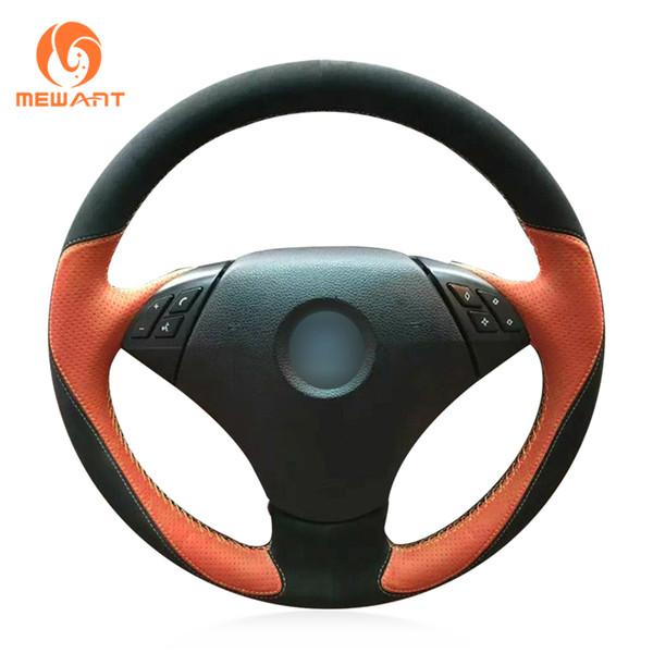 Coprivolante per auto in pelle scamosciata nera Mewant in pelle arancione per BMW 530 523 523li 525 520li 535 545i