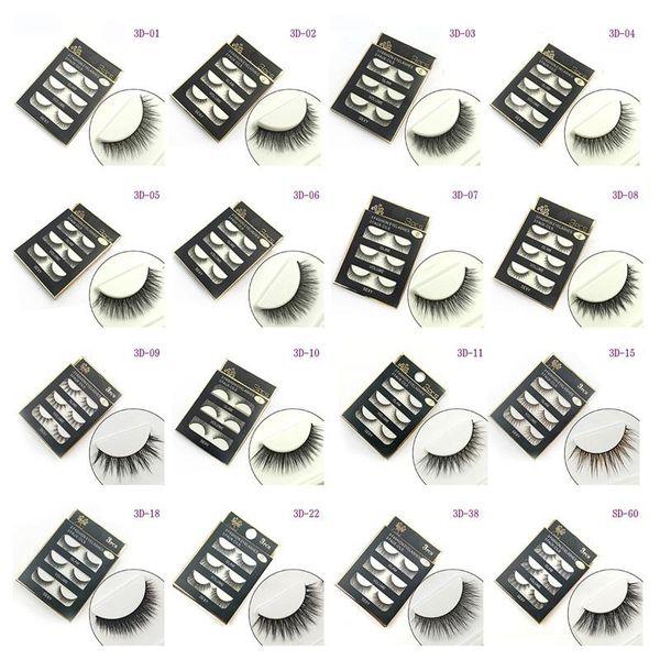 3D False Eyelashes 16 Styles Handmade Beauty Thick Long Soft Lashes Fake Eye Lashes Eyelash Sexy 3Pairs/set