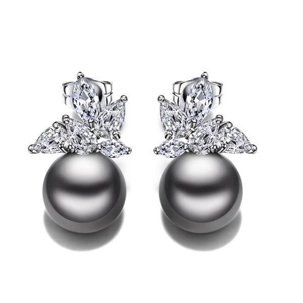 Fashion stud earrings with simulated gray pearl oorbellen dropshipping wholesale Women Earring Statement jewelry