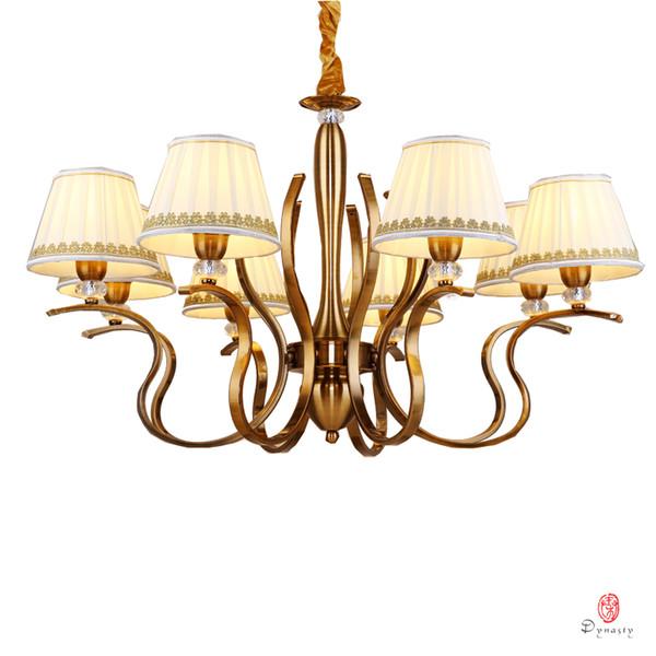 Arte decorativa lampada a sospensione lampadario in stile europeo ottone antico tessuto forma soggiorno sala da pranzo foyer casa illuminazione apparecchio dinastia leggera