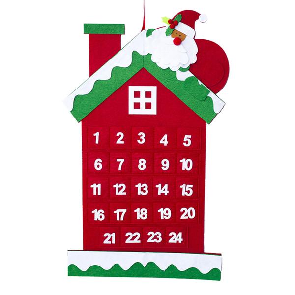 Calendario de Navidad Calendario colgante Cuenta regresiva Tarjeta de calendario Decoraciones de la casa