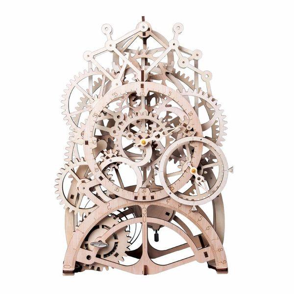 Robotime DIY Gear Drive Pendulum Clock by Clockwork 3D Wooden Model Building Kits Toys Hobbies Gift for Children Adult LK501