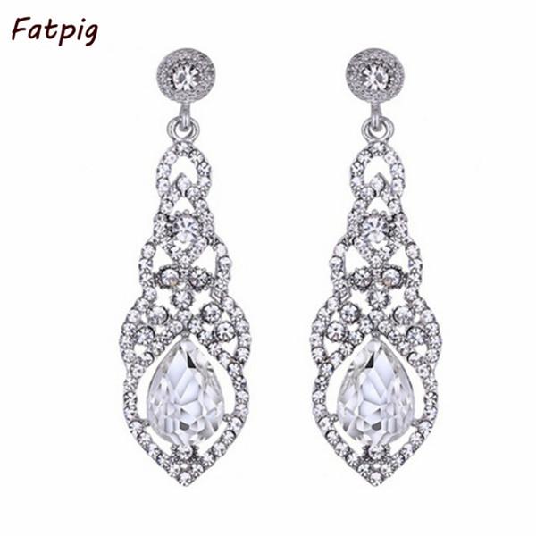 Alta calidad lágrima azul / blanco / Champagne Zircon boda pendientes largos elegantes nupcial boda compromiso joyería accesorios D19011502