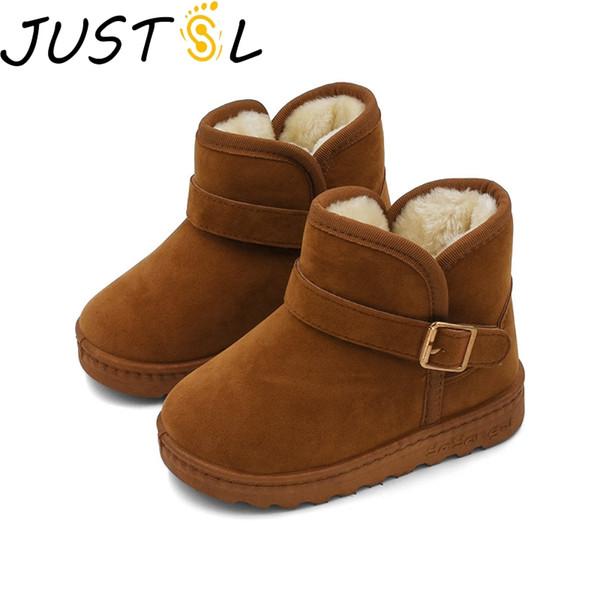 JUSTSL niños de la manera de los zapatos ocasionales muchachas de los bebés de la nieve cargadores de Martin de los zapatos corrientes de los niños Marca deportivo Blanco zapatillas de deporte para niños