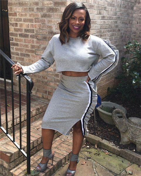 Stringy Selvedge Decoration Damenkleider Designer Split and Striped Damen Zweiteiler Short 2PCS Clothes