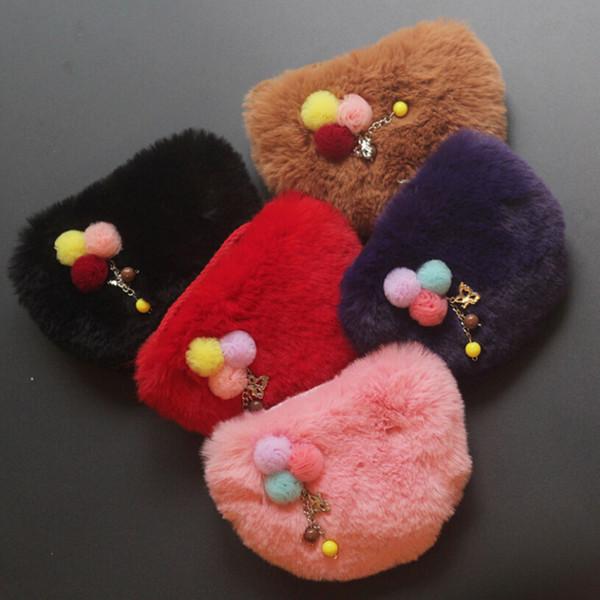 Nuovo stile Faux Fur Ball Girl Portamonete Portafoglio per bambini Piccola borsa per borsa Borsa per bambini Porta soldi Borsa per bambini Portemonnee
