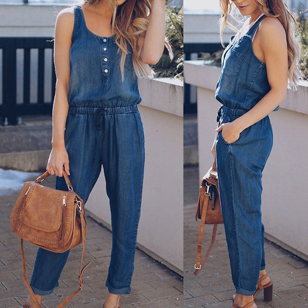 2018 Summer Women Denim Jumpsuit Vest Casual Sleeveless Tied Waist Long Trousers Overalls Button Pockets Solid Jeans Jumpsuits