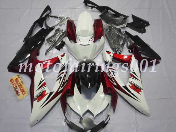 Kit carenature complete ABS nuovo stile stampo ad iniezione adatto per Suzuki GSX-R600 R750 600 750 k8 2008 2009 2010 08 09 10 personalizzato rosso bianco nero