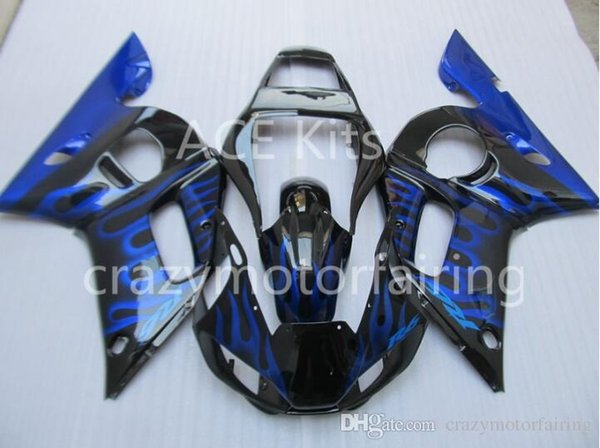 3 Free gifts Injection MOLD New ABS Fairing Kits 100% Fitment For YAMAHA YZF-R6 98-02 YZF600 1998 1999 2000 2001 2002 Black Blue flame v9