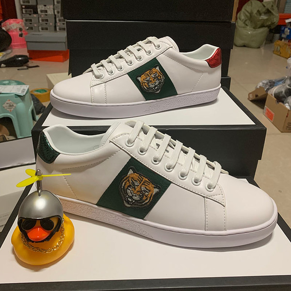 best selling Tiger designer Gift shoes Top Quality New ACE embroidered Paris real Leather Designer Sneaker Mens Women Red bottom Party bee Casual Shoes