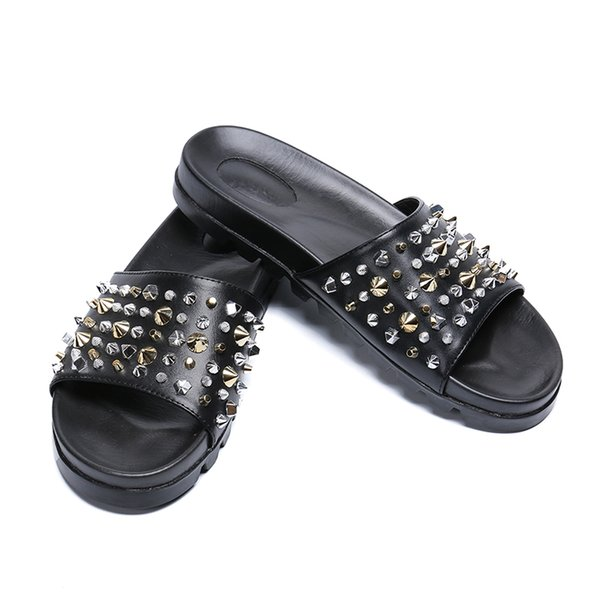 Summer rivet slippers fashion Genuine leather open-toed Roman cool-soled thick-soled men's sandals men falt slippers