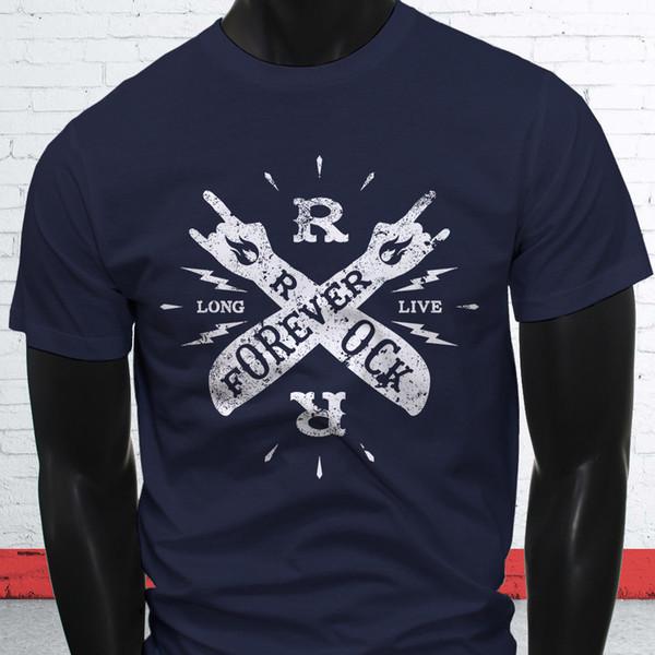 FOREVER LONG LIVE ROCK VINTAGE STAR ROLL MUSIC Mens Navy Long Sleeve T-Shirt