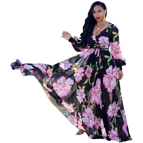 Women Stylish Chiffon Casual Dresses Sexy V-Neck Printed Floral Maxi Dress Long Sleeve with Waisted Belt Plus Size