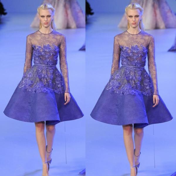 Модная коллекция Elie Saab Мини-платье для выпускного вечера с открытой горловиной Аппликация Формальное вечернее коктейльное платье Бесплатная доставка до колен Платья для встреч выпускников