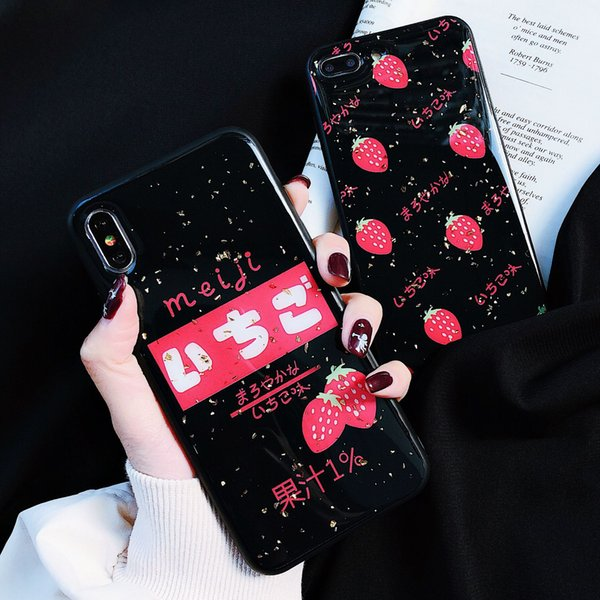 3D Kawaii Strawberry Gold Glossy Couple Phone Case for IPhone X XS MAX XR 8 7 6 6S Plus Soft Silicon Bumper Back Cover Cute Japan Design