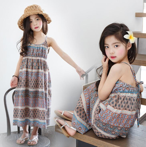 New Girls Longuette cotton Broken flowers Dress Dresses Girl Prom Dresses Summer Princess Dress best quality 4-21 lw41