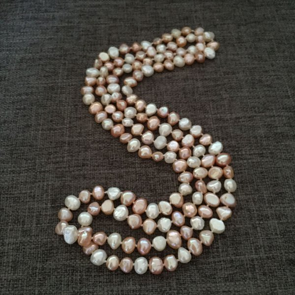 NEW long 120cm7-8mm baroque multicolor freshwater pearl necklace fashion jewelry
