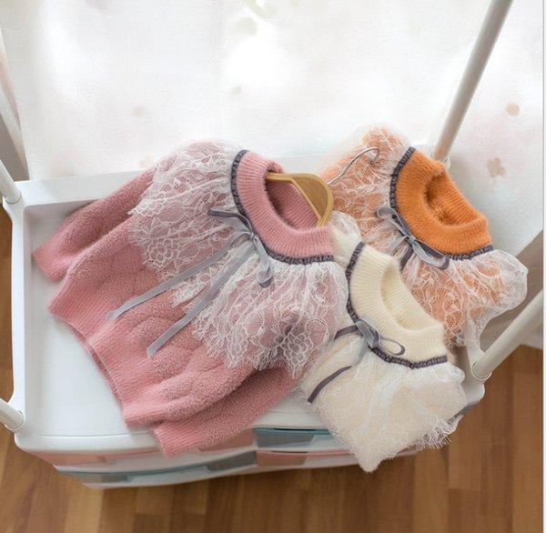 2019 Invierno nuevo suéter para niñas gasa de encaje bordado falbala pajarita corbata princesa tops niños suéter de punto espesar jersey cálido F10187