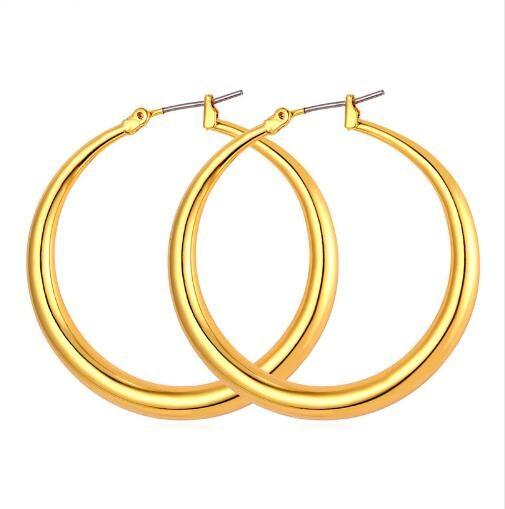 top popular Trendy Big Size Style Large Hoop Earrings For Women Fashion 18K Real Gold Plated Basketball Wives Big Size Earrings E424 2021