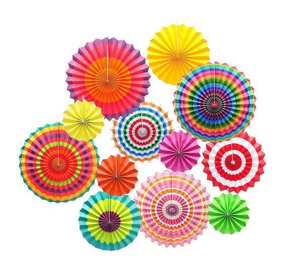 1 satz (12 Stücke) Hängen Kreis Papier Fan Bunte Mexikanische Fiesta Karneval Papier Kiefernrad für Party Event Geburtstag Hochzeit Hintergrund Decor