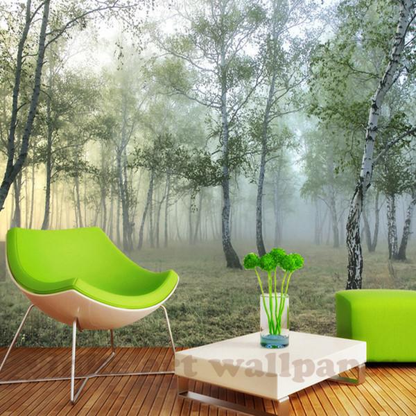 Custom 3D Wall Mural Wallpaper Naturaleza Paisaje Verde bosque 3D No tejido Foto Papel de pared Decoración para el hogar para el estudio sala de estar