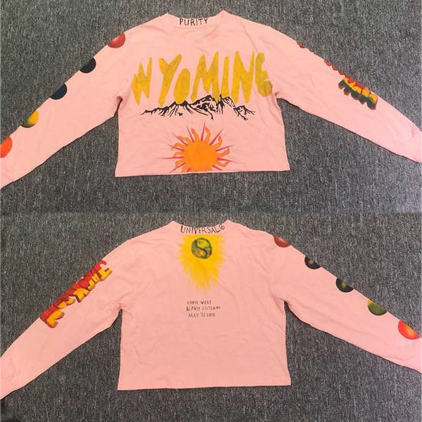 2019 Nuevo Kanye West Wyoming Camiseta de manga larga Mujeres Sexy Navel Corto Kanye West Camiseta Chica Hip-hop Loose Graffiti Camisetas