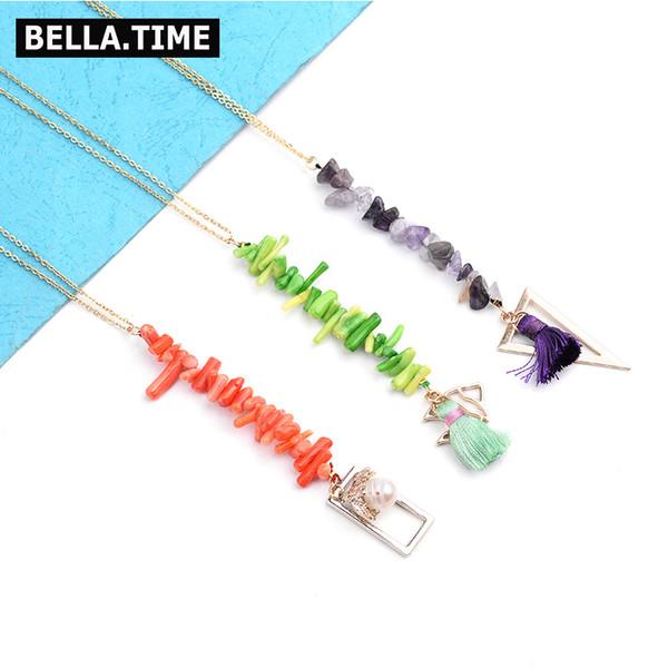 2019 lange Boho Frauen Anweisung Anhänger Halsketten natürliche Koralle geometrische Metall Zubehör Halskette inspirierende Schmuck NKS212
