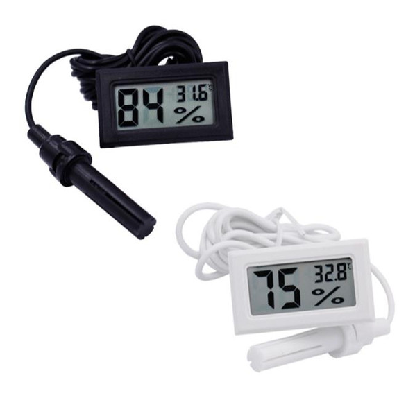 top popular Mini Digital LCD Thermometer Hygrometer Temperature Humidity Meter Thermometer probe white and Black in stock Free shipping SN2476 2021