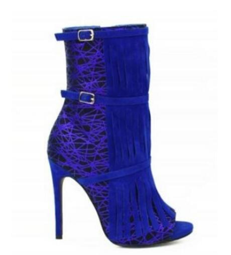 Unique style peep toe high heel women booties fashion tassel ankle boots double ankle buckle stiletto heels shoes woman