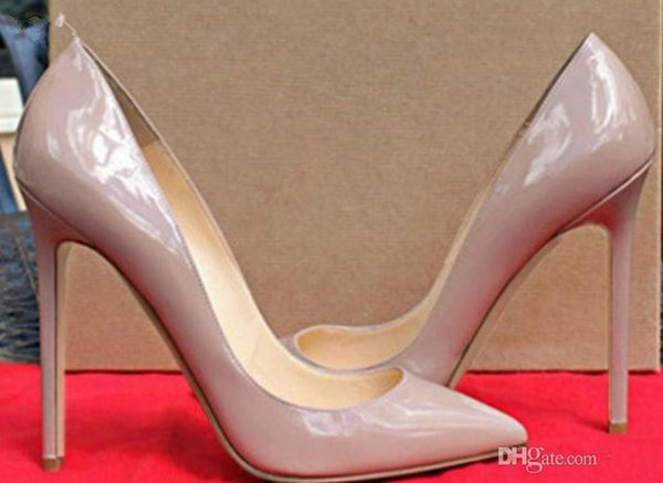 Style High Quality Women High Heels Shoes Rivets Purple Patent Heels Lady Wedding Shoes Red Shoes High Heels Shoes+box