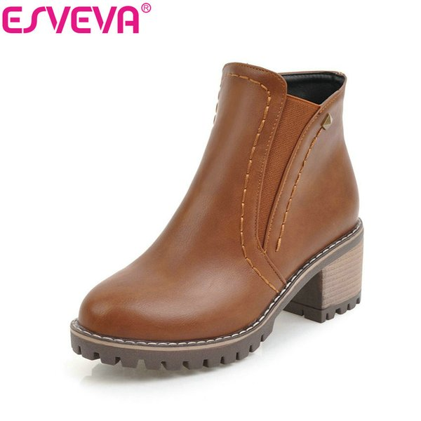 esveva 2020 chunky women boots short plush square heels ankle boots round toe zippers spring and autumn ladies shoes size 34-43
