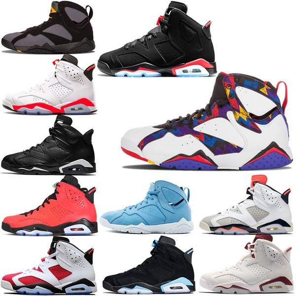 Men 6s Basketball Shoes Sneakers 7s Sweater Women Man VI 6 GS Black Infrared VII UNC Angry bull 7 Olympics Trainers Sport Shoe