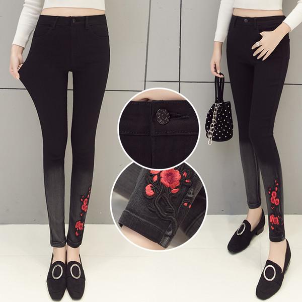 Neue Original Handgemachte Stickerei Kleine Blume 2019 Elastische Dünne Jeans Damenmode Boyfriend Jeans für Frauen Süße Student