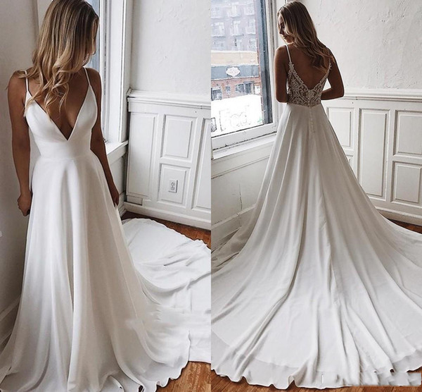 Sexy V Cut Low Back Spaghetti Strap Appliques Wedding Dresses Simple Satin A Line Long Train Bridal Summer Robe de mariee