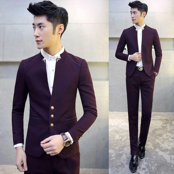 new Fashion Men Suits Black Wine Red Navy Blue Slim Fit Business Banquet Wedding mens Dress Jacket & Pants Size S-2XL