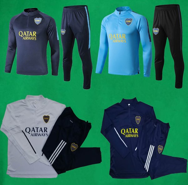 best selling 20 21 Boca Juniors Tracksuit Men's Soccer tracksuit Full Sleeve Football Training Suit 19 20 Boca Sweatshirt and Pants DE ROSSI TEVEZ Sets