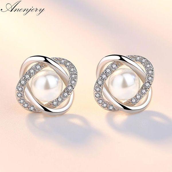 Anenjery Upscale 925 Sterling Silver Earrings Zircon Pearl Twist Luxury Stud Earrings For Women brincos pendientes S-E290