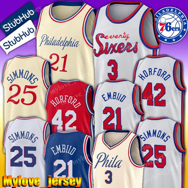 best selling Philadelphia Jersey 76ers Allen 3 Iverson Jersey Tobias 33 Harris Jerseys Al 42 Horford Jersey Joel 21 Embiid Jerseys Ben 25 Simmons Hot