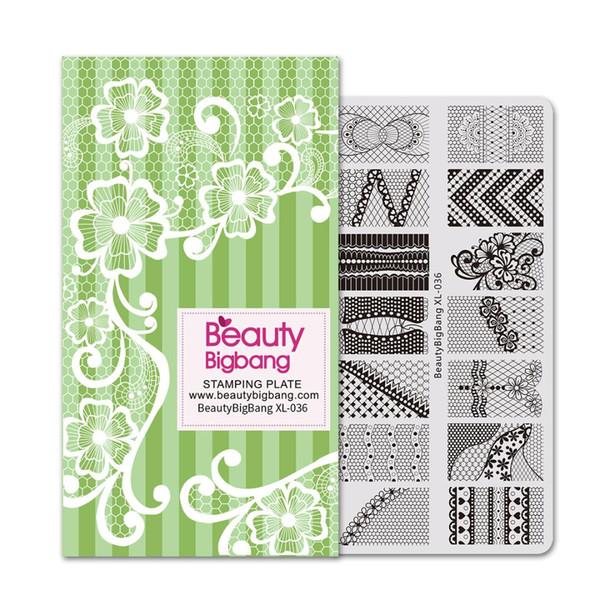 BeautyBigBang Штамповки Пластины Кружева Шаблон Шитья Цветок DIY Изображение 6 * 12 см С Бумажной Коробкой Ногтей Штамп Шаблон Плиты XL-036