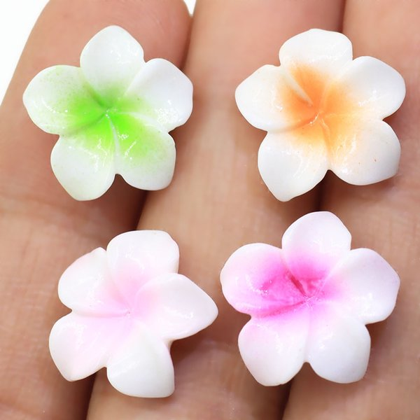 Flower Spacer Loose Beads Plumeria Resin Flower Cabochons Flat Back Tropical Flower Slime Charms Hawaiian Bali Plumeria Resin Cabochons