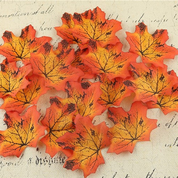 100Pcs/lot Artidicial Silk Maple Leaves Multicolor Fake Fall Leaf For Art Scrapbooking Wedding Party Decoration Craft C18112601