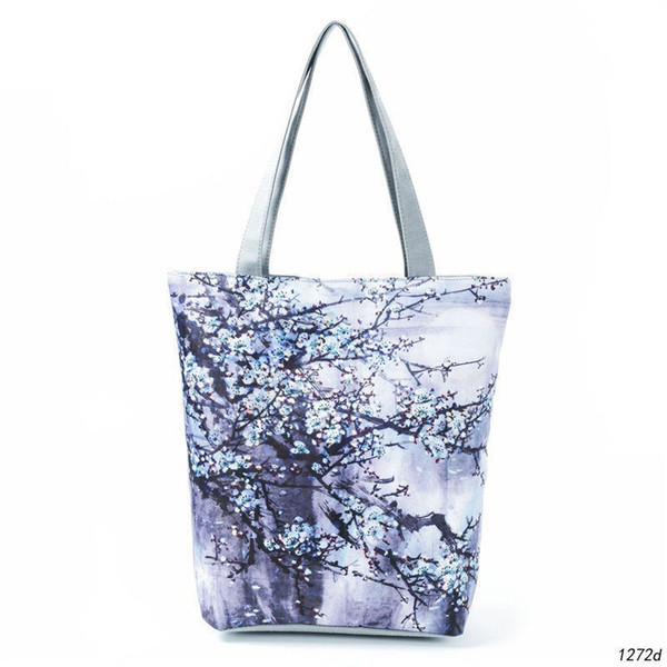 good quality Ink-wash Painting Design Shoulder Bag Women Blue Floral Printed Tote Handbag Canvas Summer Beach Bag Lady
