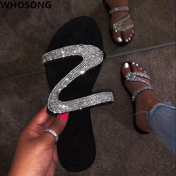 Ücretsiz 2019 yeni göndermek sandalet kadınlar parlak elmas rahat açık seyahat flip flop plaj ayakkabı kaymaz dayanıklı terlik