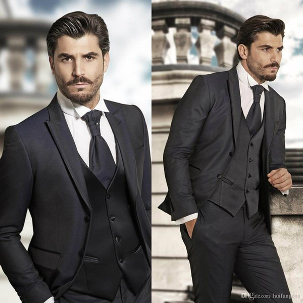 Three Pieces Black Mens Designer Suits With Peaked Lapel Groom Tuxedos for Weddings 2018 Best Man Suits Custom Made(Jacket+Vest+Pants)